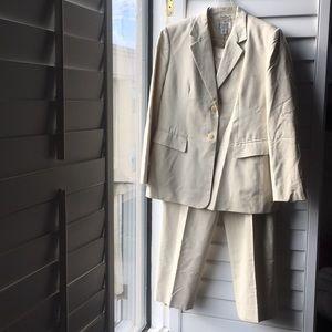 Cream cotton viscose Talbots lined pantsuit
